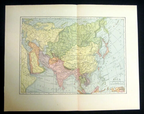 1908 Map of Asia - color, center-fold