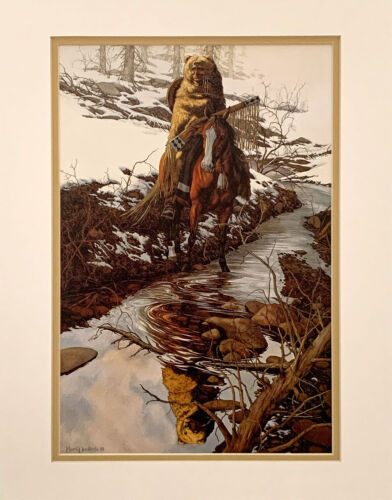 Bev Doolittle Spirit of the Grizzly Double Matted fits standard 11x14 frame