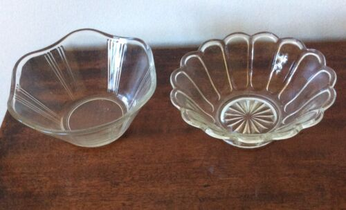 2 Vintage Small Pressed Glass Dishes
