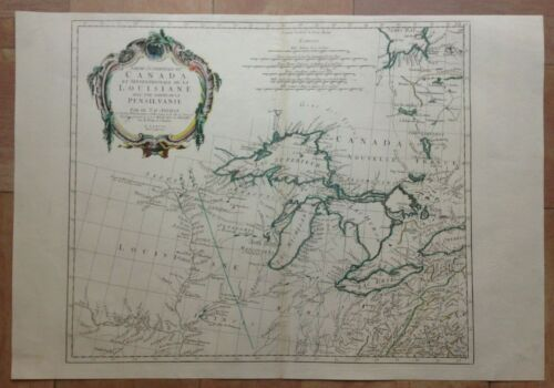 CANADA LOUISIANA 1775 by D'ANVILLE UNUSUAL LARGE ANTIQUE MAP 18e CENTURY