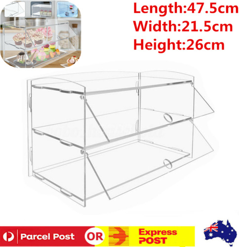 2 Tier Acrylic Bakery Pastry Display Case Cabinet Cakes Donuts Cupcakes Pastries
