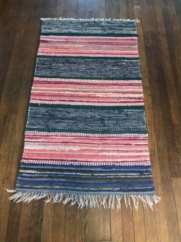 Great Swedish Hand Made Rag Rug - Red and Blue (25.5 inches X 45 inches)