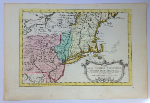 XVIIIe SIECLE 1750 NEW ENGLAND by NICOLAS BELLIN NICE ANTIQUE ENGRAVED MAP