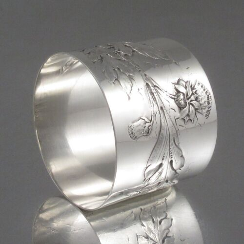 Antique French Sterling Silver Napkin Ring Art Nouveau Thistle, Leontine Compere
