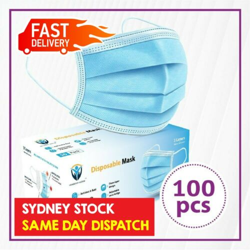 100Pc Disposable Face Mask Protective Masks 3 layer Meltblown Filter General Use <br/> SYD STOCK/Same Day Dispatch/BFE ≥ 98%/CE Certified