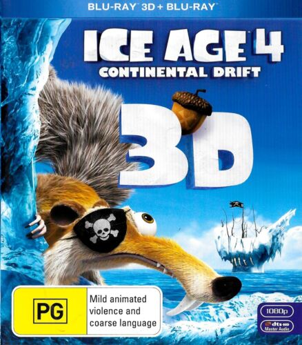 ICE AGE 4 - CONTINENTAL DRIFT - 3D - Rare - Aussie Stock Blu-Ray -DISC LIKE NEW