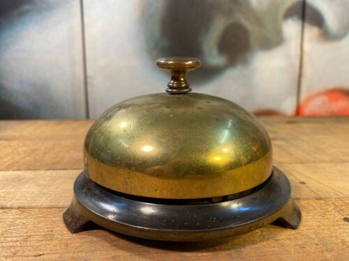 Large Antique American Russell & Erwin Brass & Cast Iron Shop Store Counter Bell