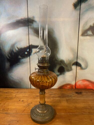 Antique Vintage French Amber Glass Onyx & Brass Banquet Oil Lamp 58cm