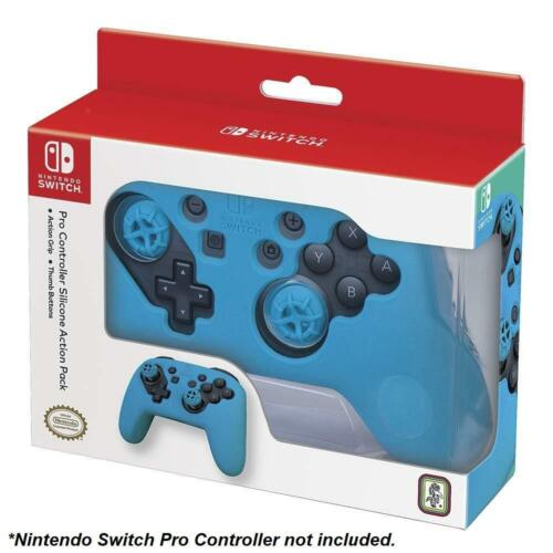 Action Pack Silicone Grip & Thumb Buttons Nintendo Switch Pro Controller (Blue)
