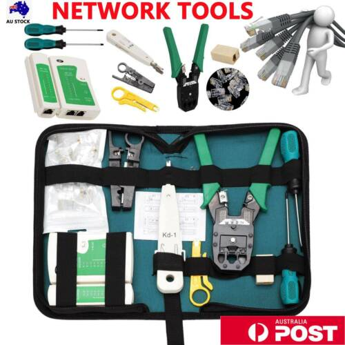 CAT6/5 LAN Network Tool Cable Crimper RJ45 Tester Stripper Punch Down Cutter Kit