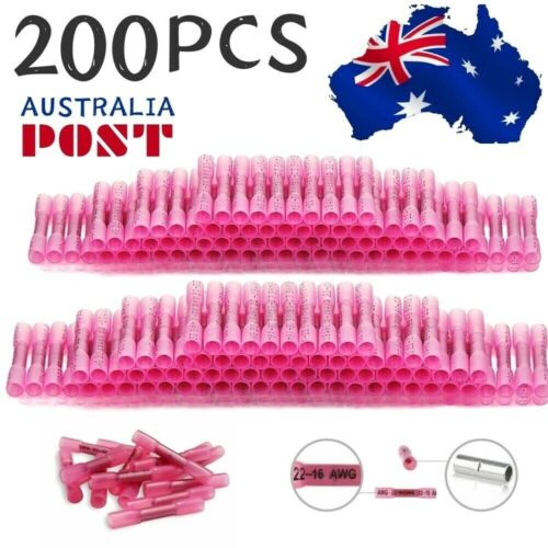 200Pcs Heat Shrink Butt Wire Crimp Terminal Sleeves Waterproof Red Connector AU