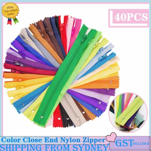 40pcs Assorted Color Close End Nylon Zipper For Tailor Sewer DIY Craft Sewing AU
