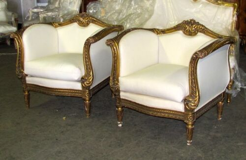 19th C. Pair of Spectacular Mannerist Gilt Baroque Style Club Bergere Chairs