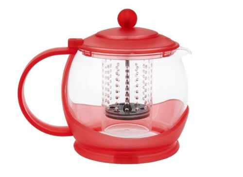 Prepology Tea Server Ball Auto Shut-off Infuser 1.2L Brewer Pyrex Glass Red Pot