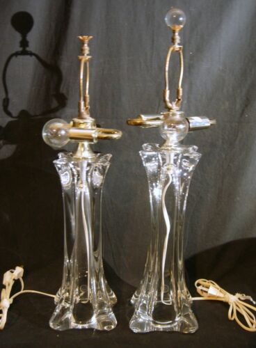 Pr. French Crystal Lamps MCM Signed Fabrique Made in France Hollywood Regency