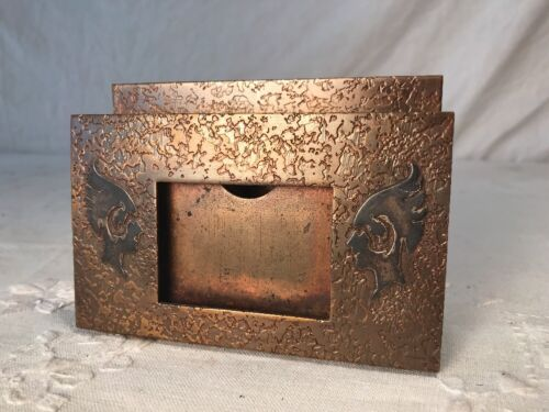 Antique Art Nouveau Bronze & Sterling Card Holder