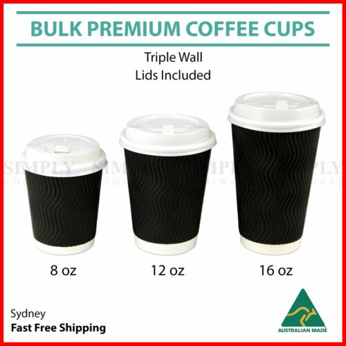 Disposable Coffee Cups 4oz 8oz 12oz 16oz Takeaway Paper Triple Wall Drink Bulk <br/> Extra 20% off! Use code PMID20. Ends 26/3. T&Cs apply