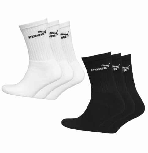3 Pack Mens Puma Knitted Logo Casual Comfortable Crew Socks Sizes from 6 to 14