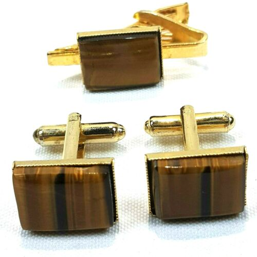 Vintage Genuine Tigers Eye Cuff-links and Tie Clip Set Gold Plated