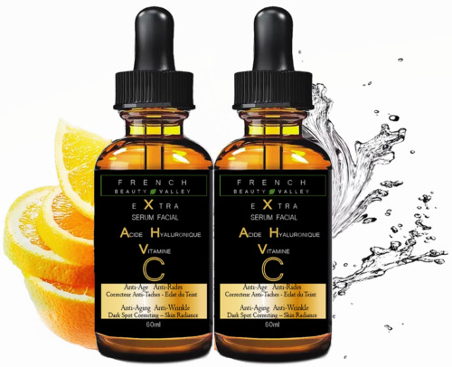 2 X EXTRA SERUM VISAGE A L'ACIDE HYALURONIQUE & VITAMINE C - FLACON GEANT 60ML