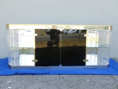 SMASHING 1970'S ANTONIO PAVIA BRASS AND LUCITE CREDENZA - P