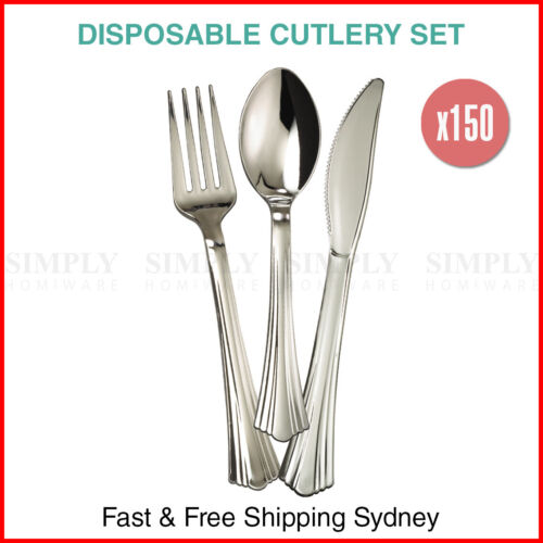 150x Disposable Cutlery Set Metallic Silver Plastic Spoons Forks Knives Party