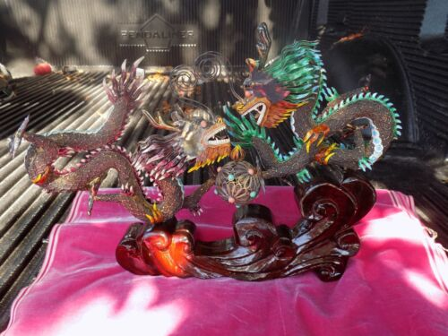 INCREDIBLE PAIR OF CHINESE ENAMEL SILVER WIRE FIGHTING DRAGONS WITH CORAL