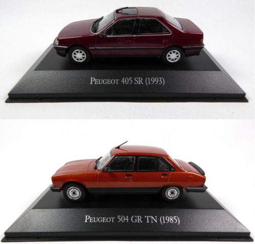 Lot de 2 Peugeot 405 SR + 504 GR 1/43 Voiture Miniature Diecast Model Car LAQV1