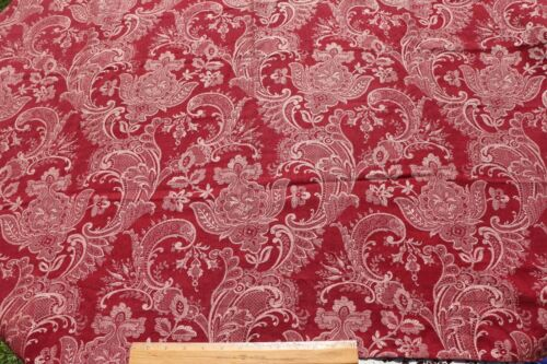 """Antique 19thC French Cotton Jacquard Red Curtain Fabric~ L-46"""" X W-48"""""""