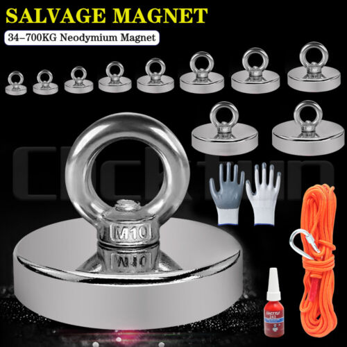 Magnet 34-700Kg Salvage Recovery Neodymium Strong Hook Fishing Treasure Hunting