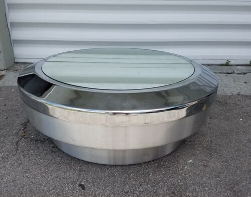 SUPER COOL VINTAGE FLY SAUCER ALUMINUM COFFEE TABLE W MIRRORED TOP