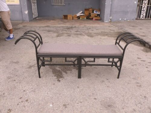 GORGEOUS POST MODERN BLACK ENAMEL CHINESE CHIPPENDALE METAL BENCH - P