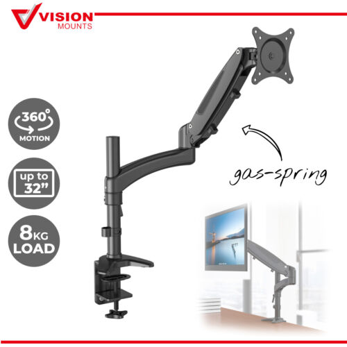 Monitor Arm Gas Spring Desk Mount Clamp up to 32'' Vision Mounts VM-GM112D
