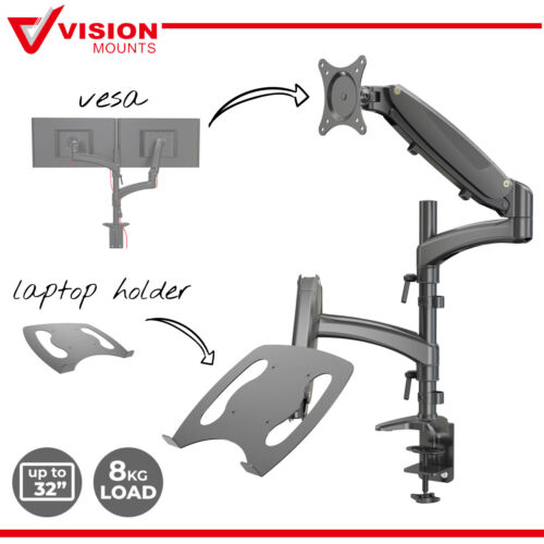 Dual Monitor Stand Mount + Tray Adaptor for Notebook Vision Mounts VM-LH08