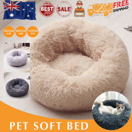 AU Pet Bed Dog Cat Calming Bed Round Nest Soft Plush Warm Comfy Kennel Cave