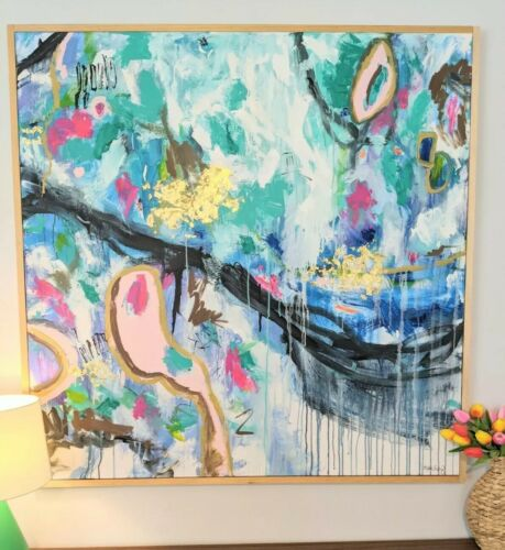 original acrylic painting abstract style. Impressionist style modern art huge