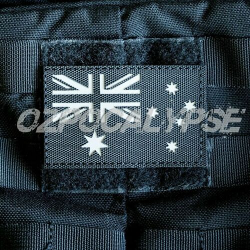 Black Australian Flag Reflective Patch - Army Military Police Swat security anfModern, Current - 36066