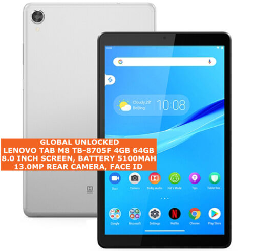 """LENOVO TAB M8 TB-8705F 4gb 64gb Octa Core 13mp Face Id 8.0"""" Android 9.0 Tablet"""