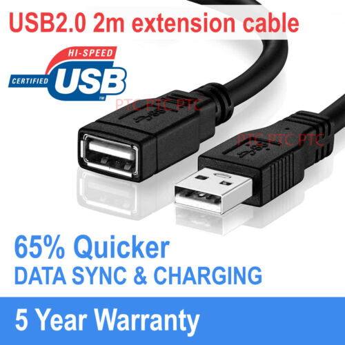 2M Premium USB 2.0 Extension Cable Type A Male to Female Black AU stock
