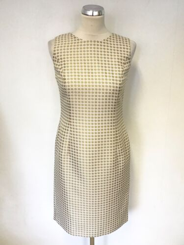 BRAND NEW 346 BROOKS BROTHERS GOLD & WHITE PRINT SLEEVELESS PENCIL DRESS SIZE 8