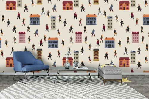 3D Building People Self-adhesive Removable Wallpaper Murals Wall Sticker FC