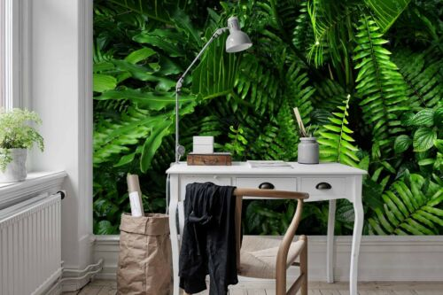 3D Tropical Leaves Self-adhesive Removable Wallpaper Murals Wall Sticker FC