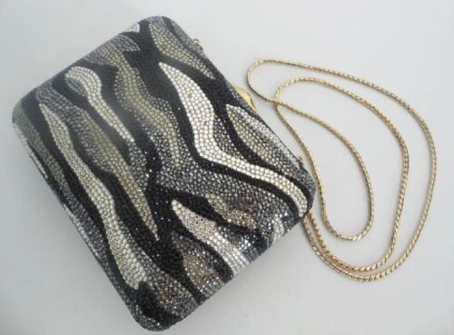 Vintage Estate Judith Leiber Crystal Minaudiere in Black, Silver, and Gold
