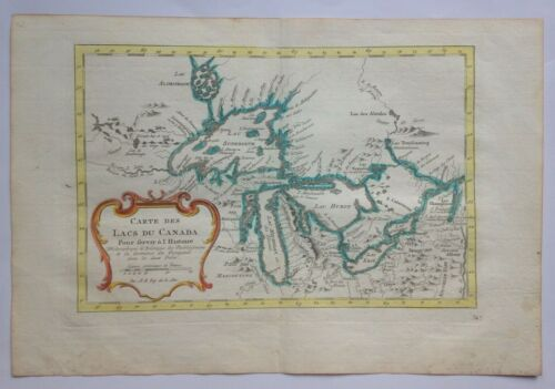 1748 USA CANADA THE GREAT LAKES by NICOLAS BELLIN UNUSUAL ANTIQUE MAP 18TH CENT