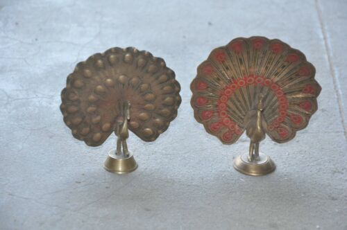 2 Pc Old Brass Lacquer Inlay Engraved Peacock Pair Figurine