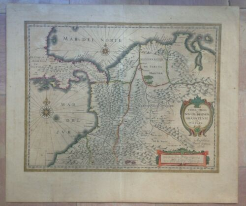 COLOMBIA PANAMA ECUADOR VENEZUELA 1649-1660 JAN JANSSON LARGE ANTIQUE MAP
