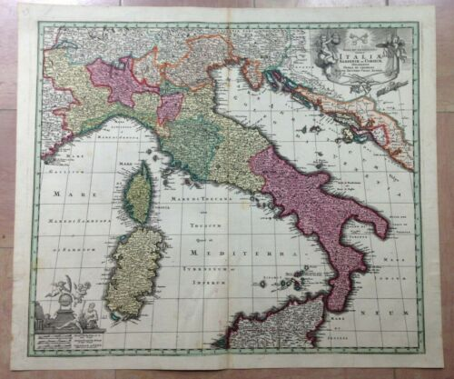 ITALY by MATHEUS SEUTTER 1730 UNUSUAL LARGE ANTIQUE ENGRAVED MAP 18TH CENTURY