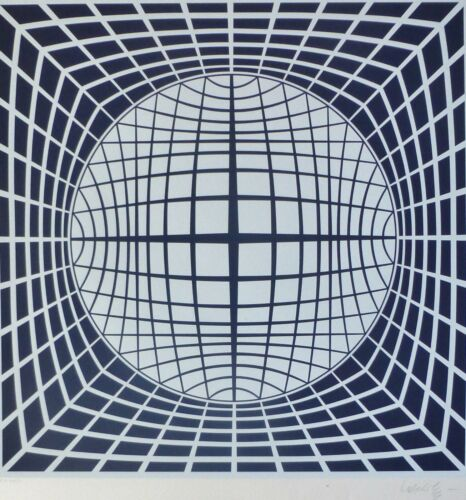 """VICTOR VASARELY  """"Ter Ur 1984"""" HAND SIGNED op art Lim. Edition serigraph"""