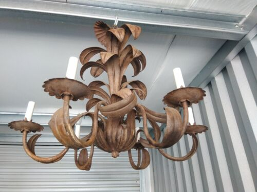 Vtg Italian Tole 6 light Fixture Chandelier Canopy wired. Palm Beach Distressed