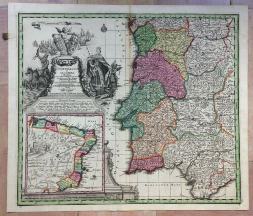 PORTUGAL 1730 by MATHEUS SEUTTER LARGE ANTIQUE ENGRAVED MAP 18TH CENTURY
